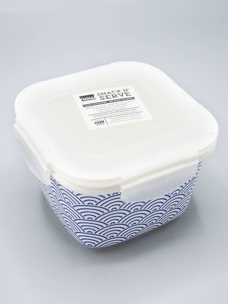 Now Designs Snack N' Serve Container - Blue Waves (6 inch)
