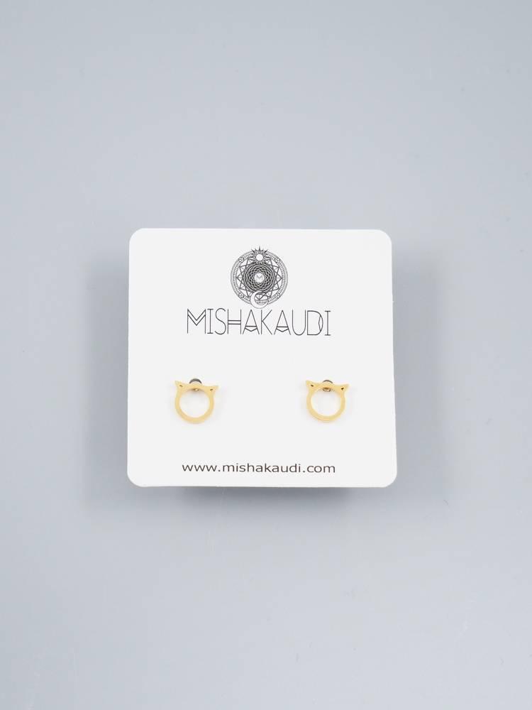 Cat Post Earrings Gold by Mishakaudi