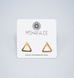 Gold Open Triangle Earring by Mishakaudi