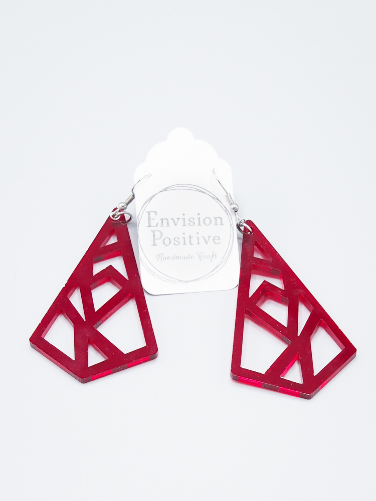 Red Geometric Pattern Earring by Envision Positive