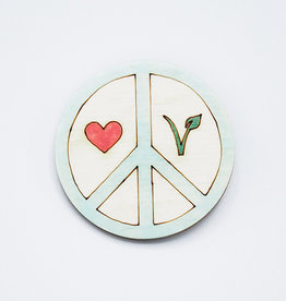 Peace Love Vegan Wooden Pin by Envision Positive