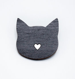 Black Heart Cat Wooden Pin by Envision Positive