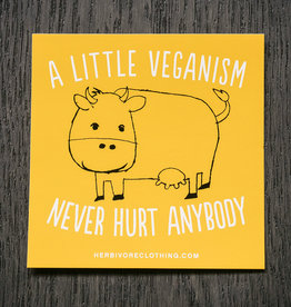 A Little Veganism Never Hurt Anybody Cow Yellow Sticker
