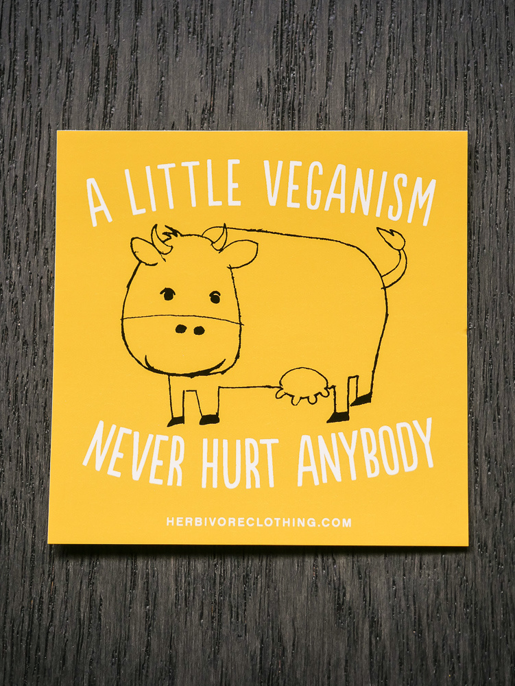 A Little Veganism Never Hurt Anybody Cow Yellow Sticker