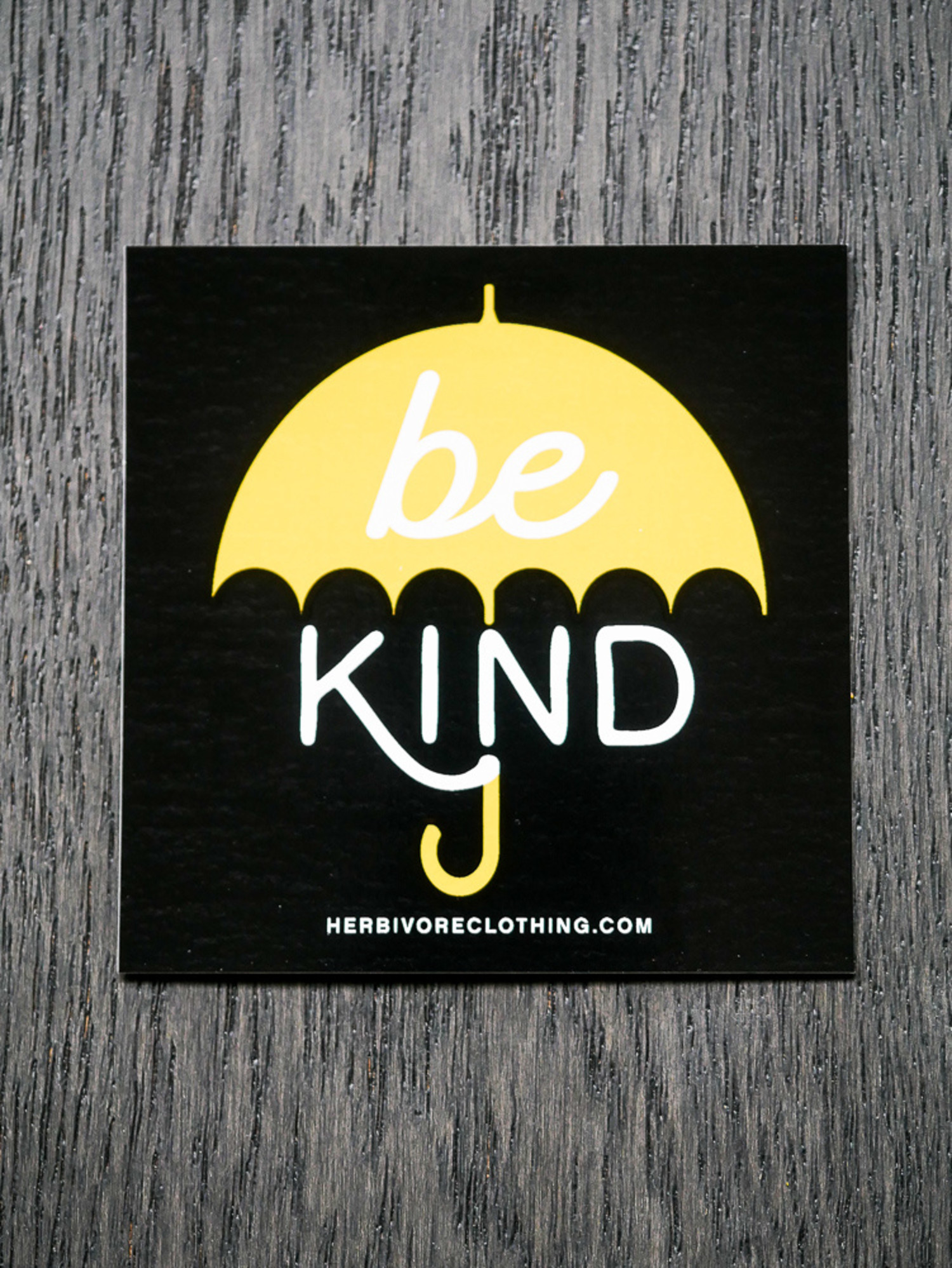 Be Kind Yellow Umbrella Sticker - The Herbivore Clothing Co