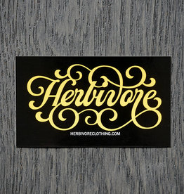 Herbivore Yellow Script Sticker