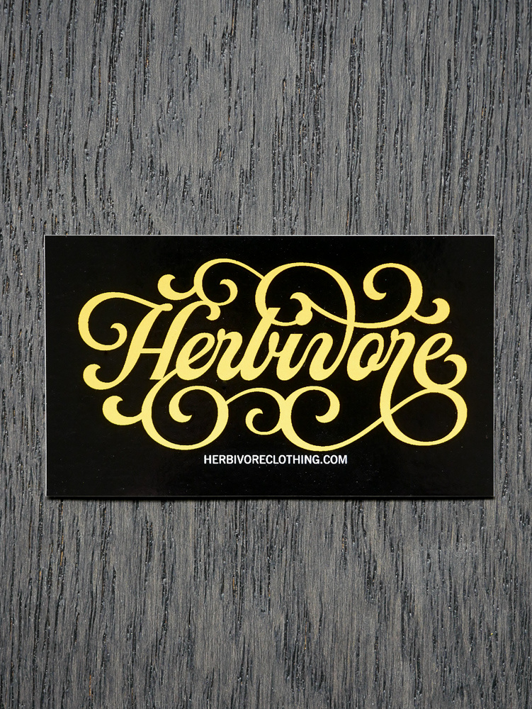 Herbivore Yellow Script Sticker