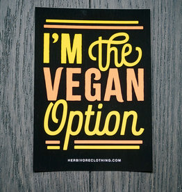 I'm The Vegan Option Coral/Yellow Sticker