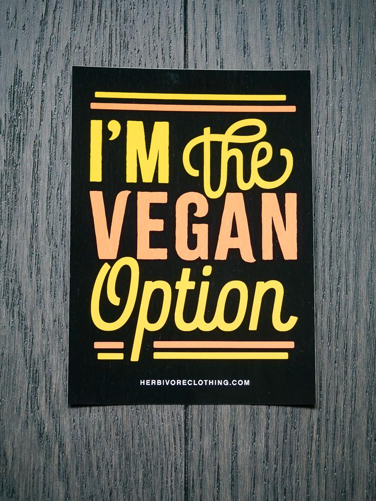 I'm The Vegan Option Coral/Yellow Sticker