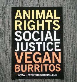 Animal Right, Social Justice, Vegan Burritos Coral/Yellow Sticker
