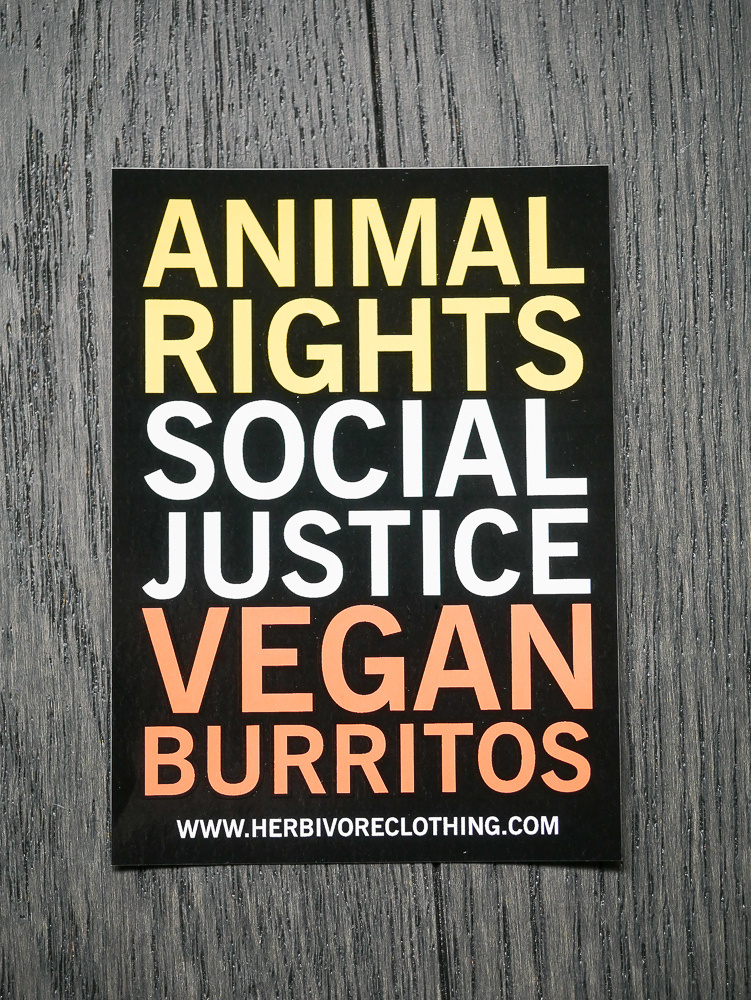 Animal Right, Social Justice, Vegan Burritos Coral/Yellow Sticker