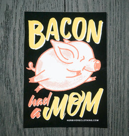 Bacon Had A Mom Coral/Yellow Sticker