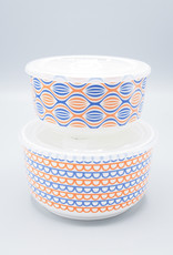 Now Designs Snack N' Serve Container - Medium Orange Waves