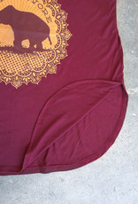 Good Luck Elephant Maroon Side Slit Tank