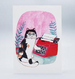 I Love You Cat Typewriter Card