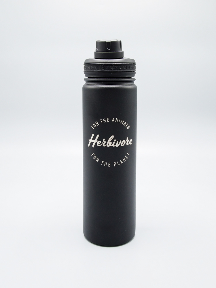 Herbivore Logo Insulated Water Bottle Black