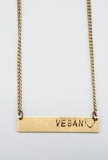 Vegan Bar With Heart Necklace by Mishakaudi Jewelry