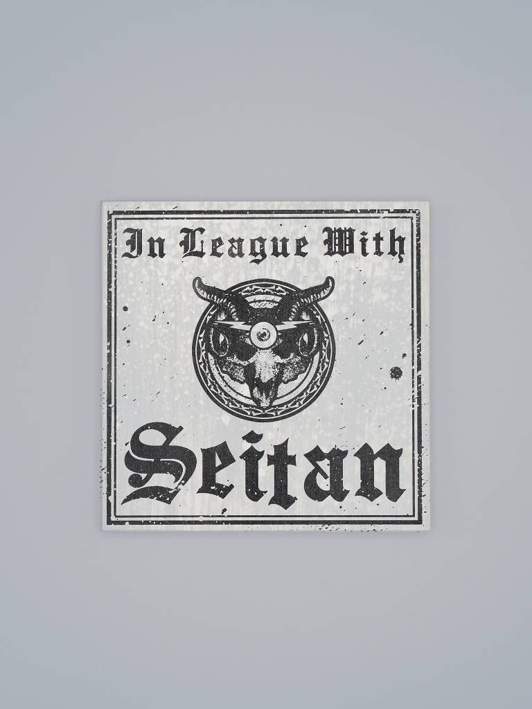 "In League with Seitan 6"" Wood Screenprint Grey"