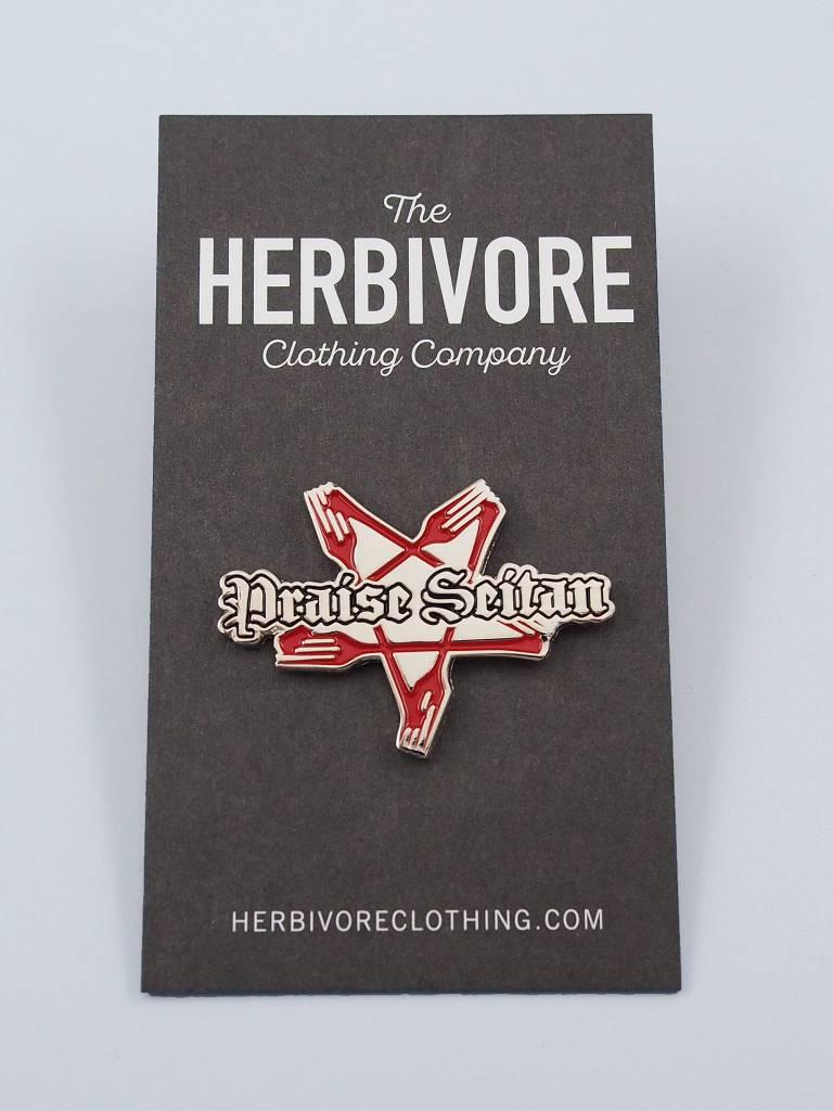 f5097e68fe8 Praise Seitan Enamel Pin - The Herbivore Clothing Co.