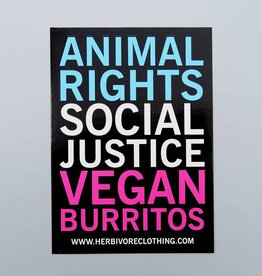 Animal Rights, Social Justice, Vegan Burritos Sticker
