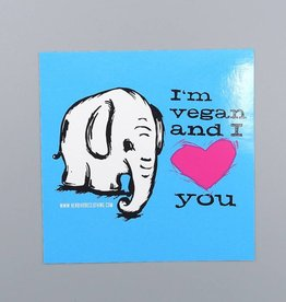 I'm Vegan & I Love You Elephant Sticker
