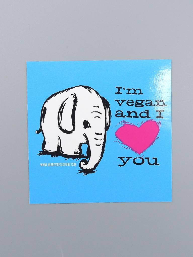 I M Vegan Amp I Love You Elephant Sticker The Herbivore