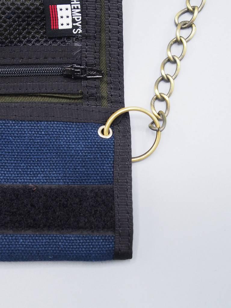 Hempy's Tri-Fold Chain Wallet Blue