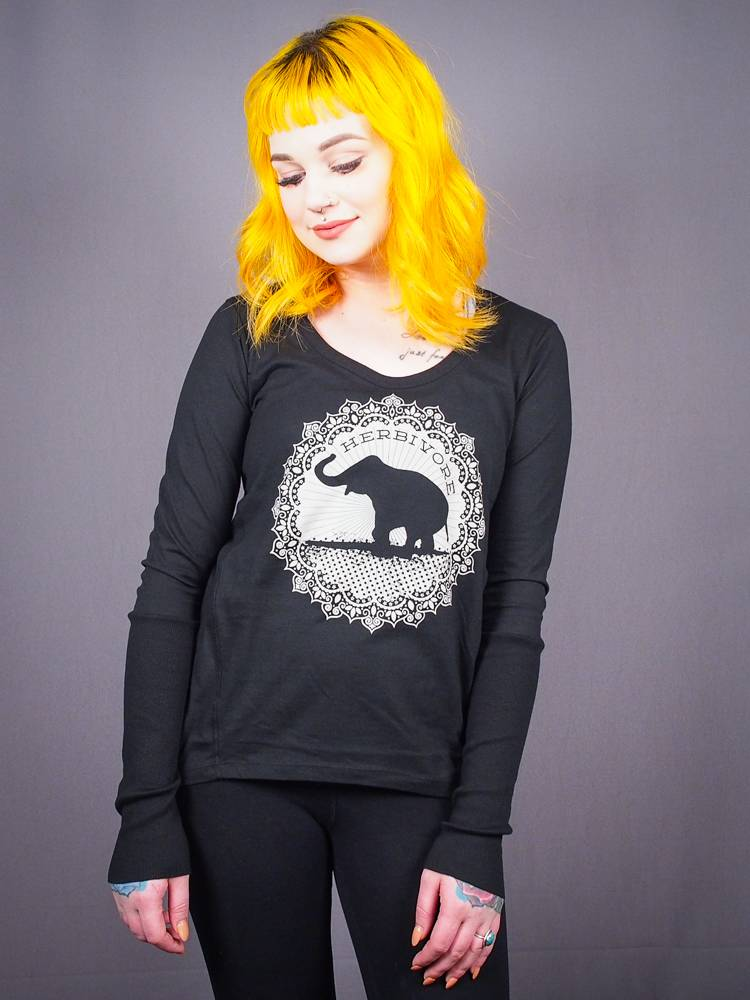 ::SIZE LARGE ONLY:: Good Luck Elephant Women's Long Sleeve Tee