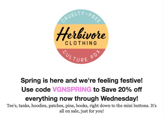 It's Time to SALE Into Spring at Herbivore! 20% Off Now Through Wednesday