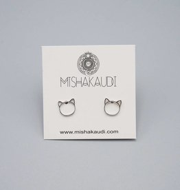Cat Post Earring Silver by Mishakaudi