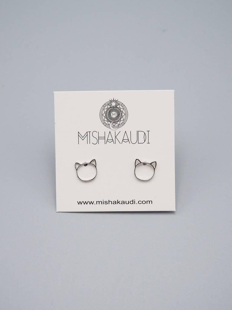 Cat Post Earring Silver by Mishakaudi