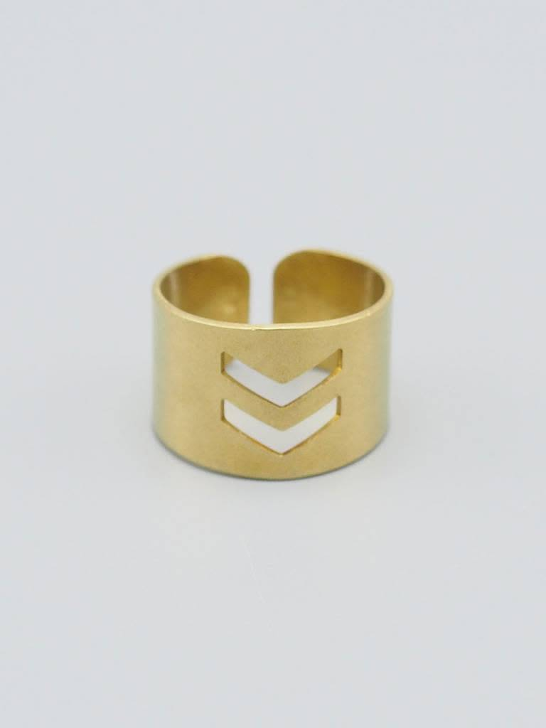 Double Chevron Brass Ring Cuff