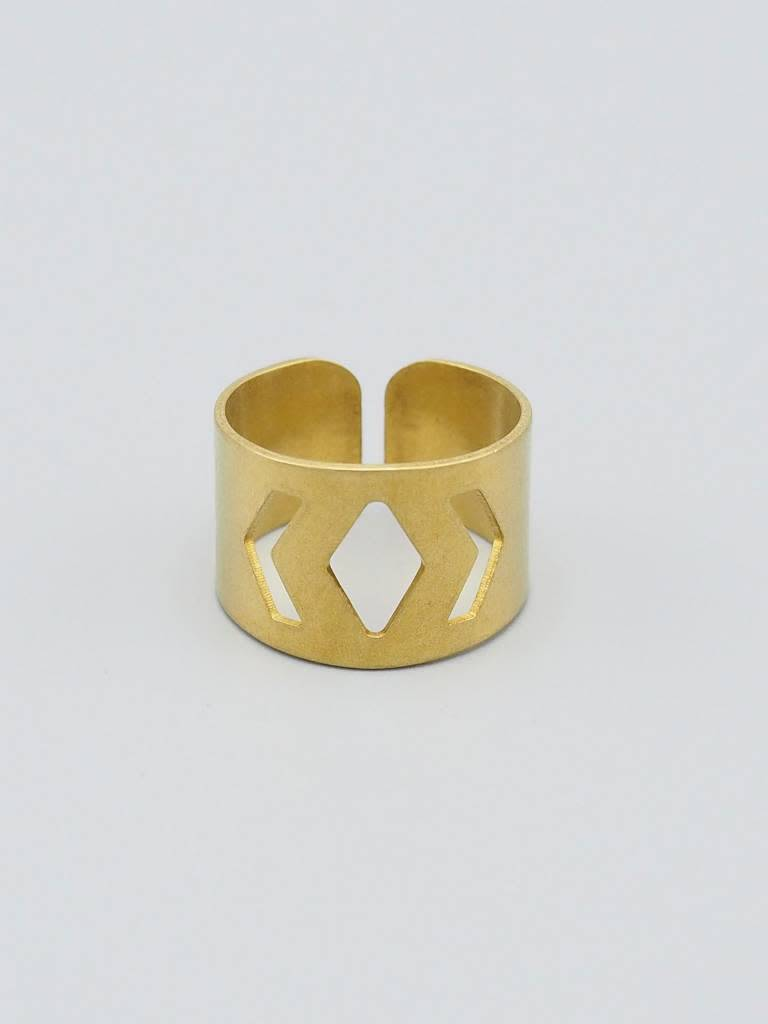 Geo Brass Ring Cuff