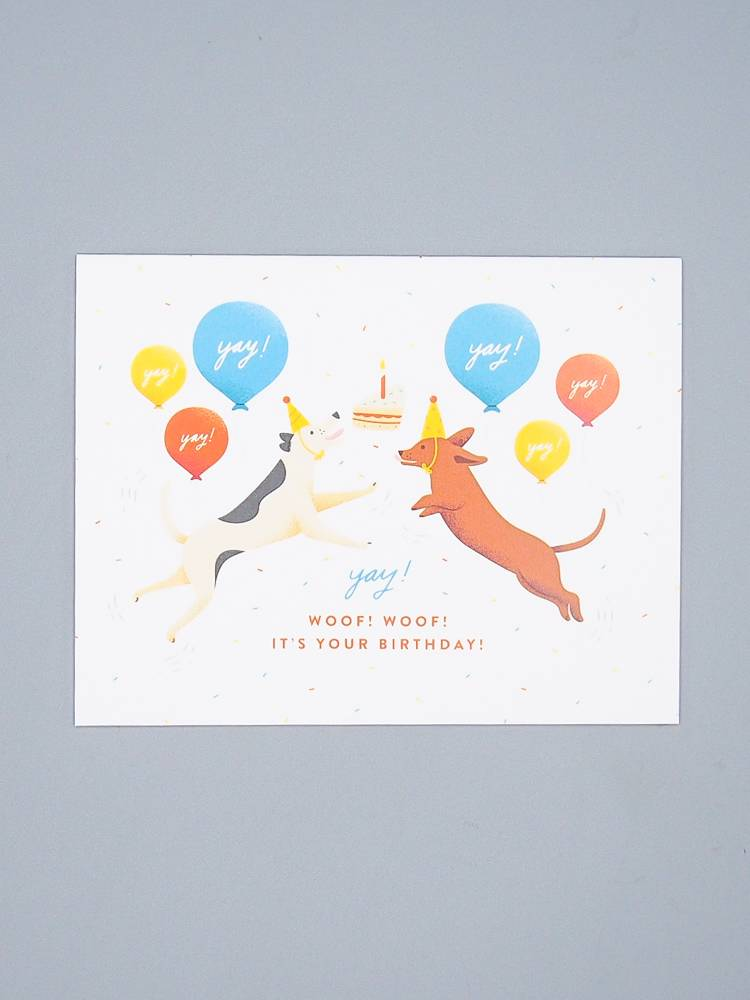 Excited Dogs Woof Woof Birthday Card