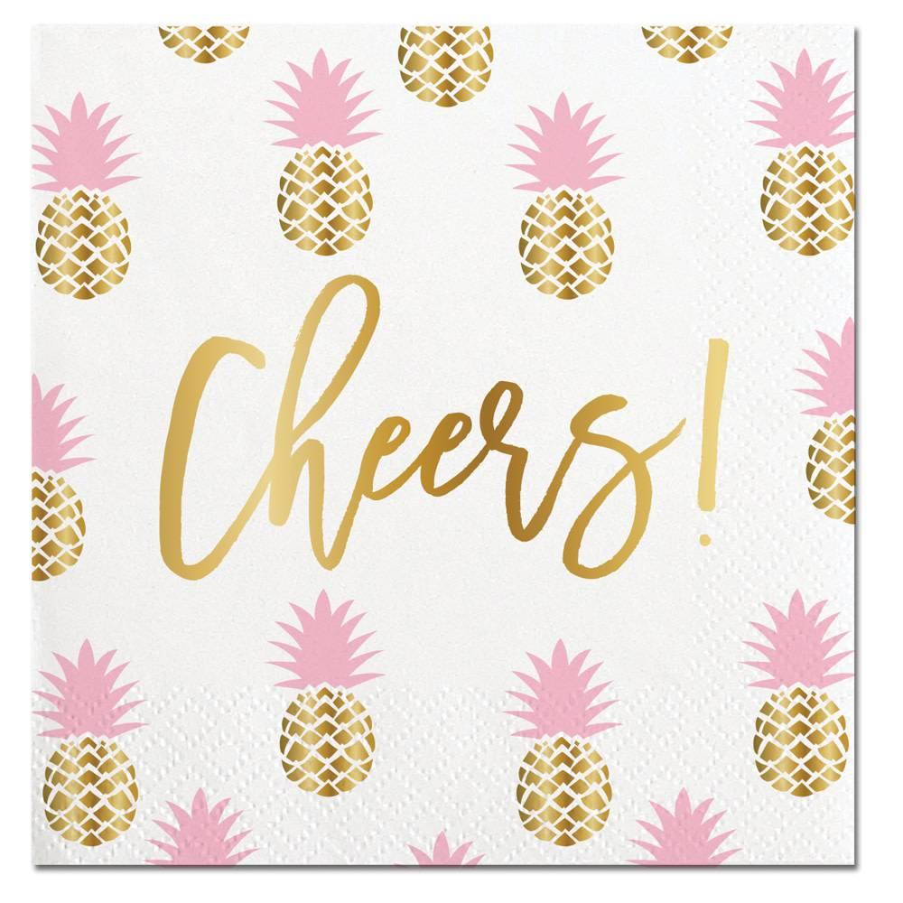 Slant Cheers Pineapple Napkin Ct 20