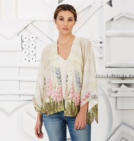 Two's Company Hyacinth Flower Short Kimono One Size