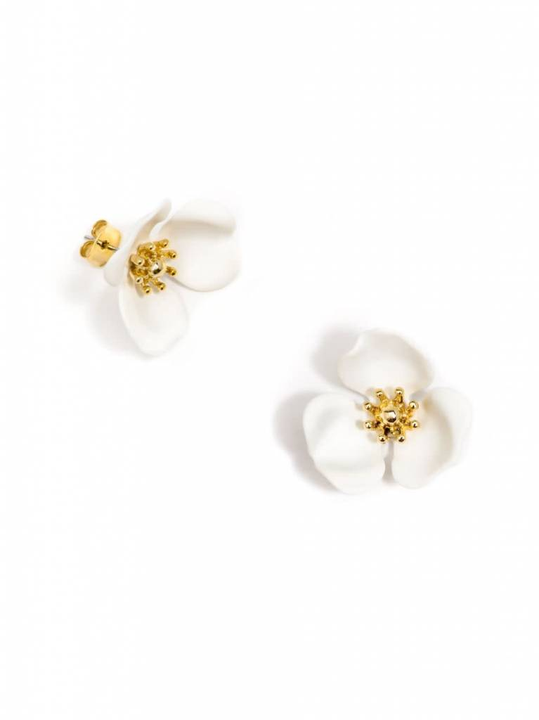 Zenzii Blooming Lotus Earring White