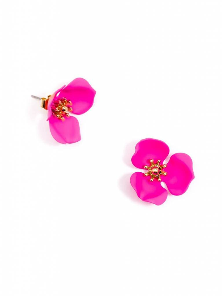 Zenzii Blooming Lotus Earring Hot Pink