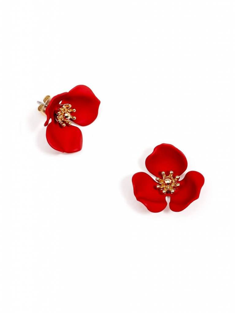 Zenzii Blooming Lotus Earring Red