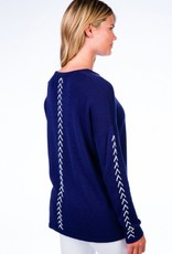 Caroline Grace Cotton Cashmere Lace Up Detail Pullover Midnight