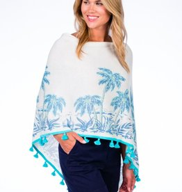 Caroline Grace Cotton Cashmere Tropical Print Tassel Topper