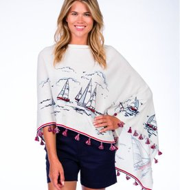 Caroline Grace Cotton Cashmere Nautical Print Tassel Topper