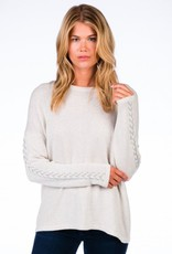 Caroline Grace Cotton Cashmere Lace Up Detail Pullover Mineral