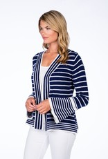 Claudia Nichole Bell Sleeve Cardigan Midnight and White
