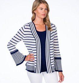 Claudia Nichole Bell Sleeve Cardigan White and Midnight