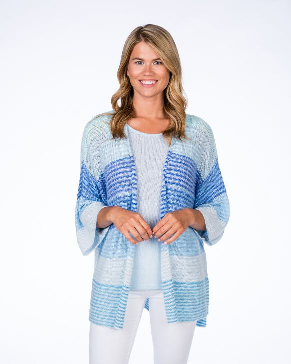 Claudia Nichole Watercolor Relaxed Cardigan Blue