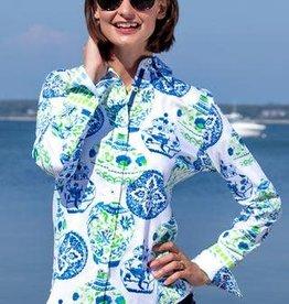 Dizzy Lizzie Rome Shirt Pots Blue/Lime
