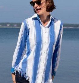 Dizzy Lizzie Dizzy Lizzie Sun Valley Fringe Shirt Blue/White