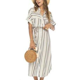 Skemo Rayas Long Shirt Dress Camel