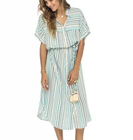Skemo Rayas Long Shirt Dress Ocean